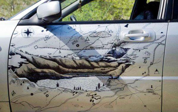 Biến cửa xe bị móp thành bản đồ