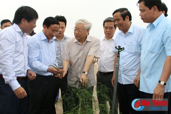 Tong Bi thu Nguyen Phu Trong kiem tra san xuat tai Ha Tinh - Anh 6