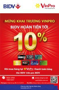 Chương trình hoàn tiền tới 10% tại VinPro