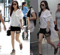 Style đen - trắng cá tính không kém sao Hàn của Triệu Lệ Dĩnh