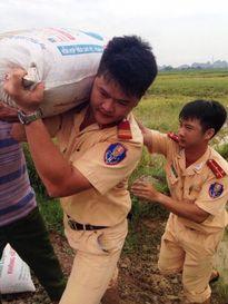 CSGT lội ruộng, ngâm mình cứu lúa trong nước lũ