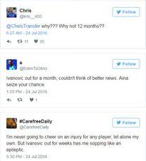 Ivanovic chấn thương, fan Chelsea... mừng như mở hội