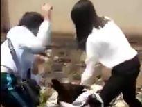 Ba nữ sinh đánh nhau trong sự cổ vũ của bạn bè