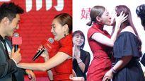 Tiểu S gây tranh cãi khi sờ ngực Huỳnh Hiểu Minh, hôn môi khách nữ trong sự kiện