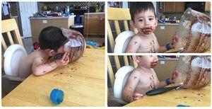 Ảnh bé lem luốc vì ăn bánh vừa yêu vừa cười đau bụng