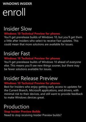 """Đã có Win 10 Mobile 10586.107, thêm chế độ update ổn định """"Insider Preview"""" bên cạnh Fast và Slow"""