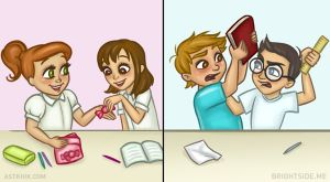 Khác biệt giữa tình bạn của con trai và con gái