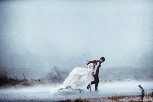 Cặp đôi Hà thành chụp ảnh cưới giữa ngày mưa bão