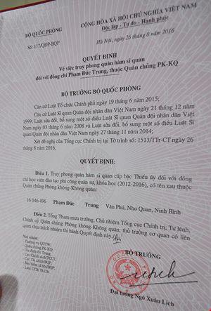 Vụ rơi máy bay ở Phú Yên: Truy phong thiếu úy cho học viên hy sinh