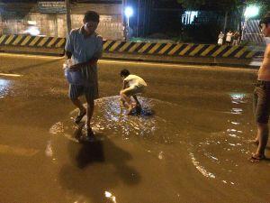 Đồng Nai: Mưa ngập, người dân Biên Hòa đổ ra quốc lộ bắt cá