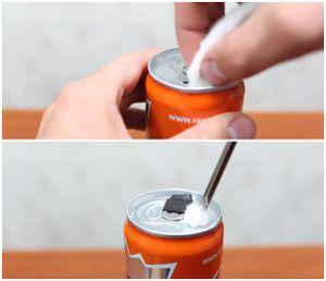 Bạn đã biết cách chế bật lửa từ lon nước ngọt chưa?