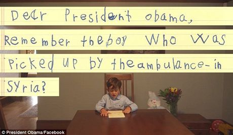 La thu xuc dong cau be 6 tuoi gui Tong thong Obama: xin hay cho chau don em Omran ve nha - Anh 1