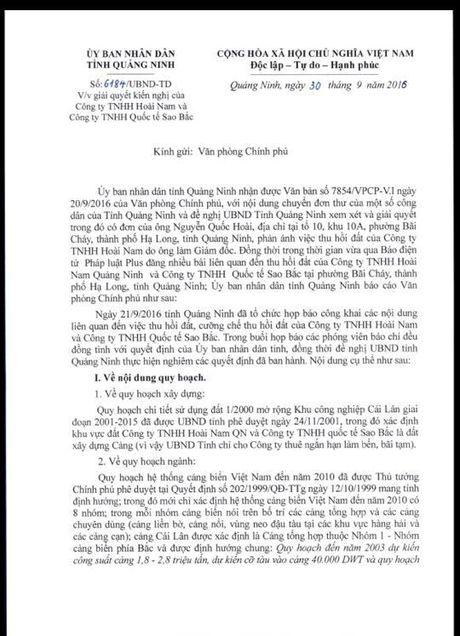Bai 10: Cong ty Hoai Nam va Sao Bac 'phan phao' cac noi dung ma tinh Quang Ninh bao cao voi Chinh phu - Anh 2