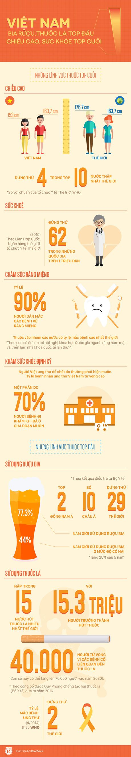 Nguoi Viet Nam so voi the gioi: Bia ruou, thuoc la top dau; Chieu cao, suc khoe top cuoi - Anh 1