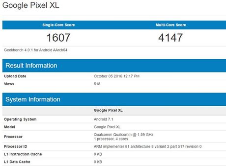 Duoc trang bi chip Snapdragon 821, diem benchmark cua Google Pixel van thua xa iPhone 7 - Anh 1