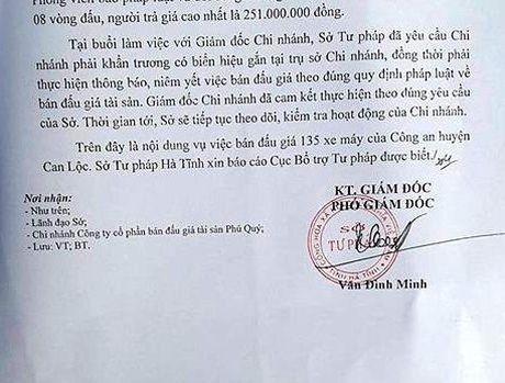 Ha Tinh: Bao cao Bo Tu phap ve vu 'nhap nhem' ban dau gia 135 xe may cua cong an - Anh 3