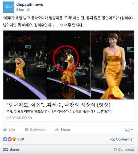 Phan ung 'Khoi can nha' cua nu dien vien Kim Hye Soo khi bi vap nga tai 'tvN10 Awards' bong gay sot - Anh 3