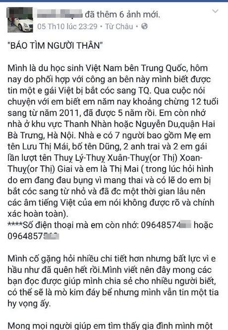 Ha Noi: Cong an tich cuc tim hieu than nhan cua be gai 12 tuoi mang thai bi ban qua Trung Quoc - Anh 4