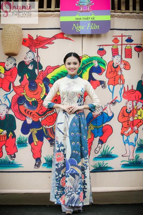 Ngoc Han thuot tha trong chiec ao dai tu thiet ke tai Festival Ao dai - Anh 6