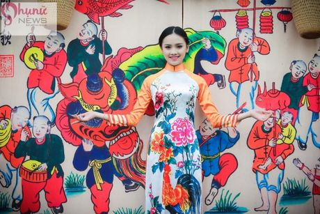 Ngoc Han thuot tha trong chiec ao dai tu thiet ke tai Festival Ao dai - Anh 8