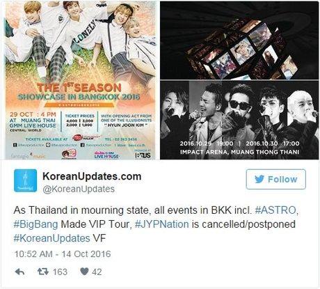 Vua Thai Lan bang ha, tu BigBang cho den loat concert lon tai Bangkok deu phai hoan lai! - Anh 3