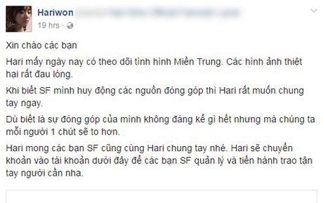 Bat ngo voi so tien Hari Won ung ho dong bao lu lut mien Trung - Anh 3