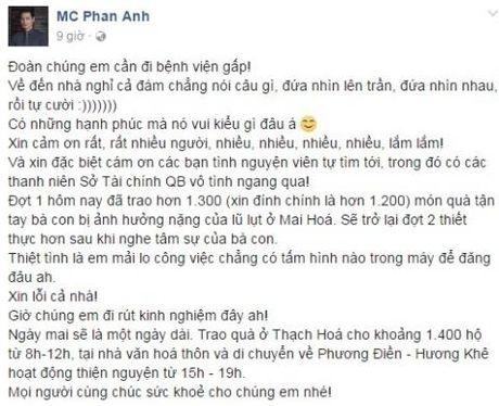 Phan Anh dang o Quang Binh: 'Xin dung dung tu cuu tro voi ba con...' - Anh 1